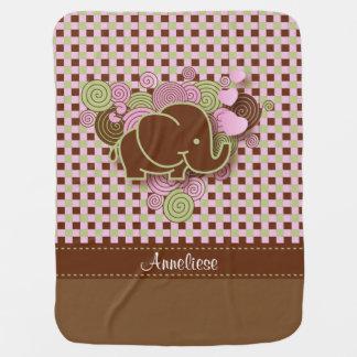 Plaid Checker Elephant Design | Pink Brown Green Receiving Blanket
