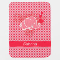 Plaid Checker Elephant Design | Red Pink Receiving Blanket