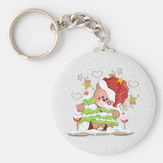 Plaid Christmas Bear Keychain