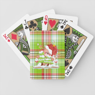Plaid Christmas Bear Bicycle Playing Cards