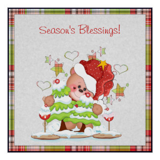 Plaid Christmas Bear Poster