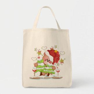 Plaid Christmas Bear Tote Bag