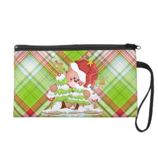Plaid Christmas Bear Wristlet Purse