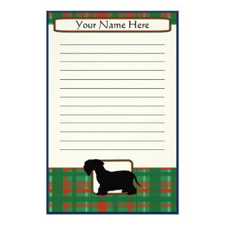 Plaid Christmas Cesky Terrier Stationery