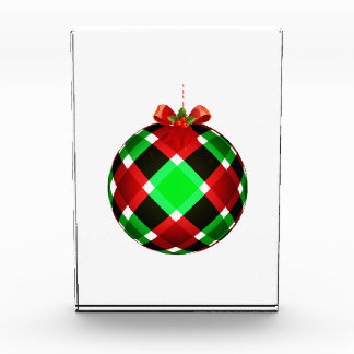 Plaid Christmas Ornament w/Red Bow Award