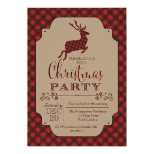 Plaid Christmas Party Holiday Invitation at Zazzle