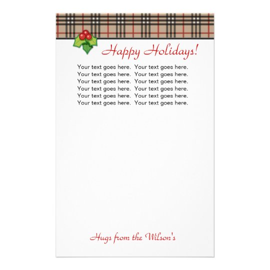 Plaid Christmas Personal Stationery Red