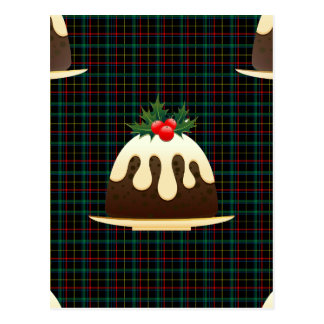 plaid christmas puddings postcard