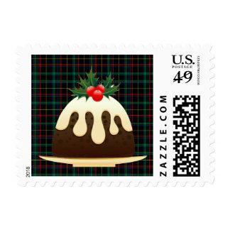 plaid christmas puddings xmas postage postal stamp