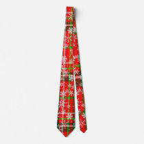 Plaid Christmas Red Tartan Pattern, Snow Flakes Neck Tie
