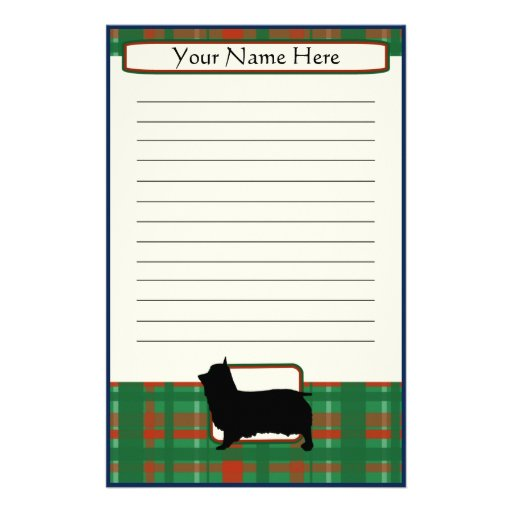 Plaid Christmas Silky Terrier Stationery