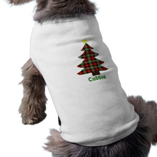 Plaid Christmas Tree Personalized Pet Name T-Shirt