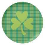 Plaid Clover St. Patrick's Day Shamrock Plate