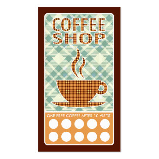 plaid coffee shop punch card