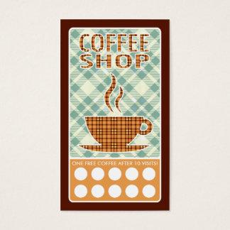 plaid coffee shop punch card
