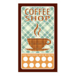 plaid coffee shop punch card business cards