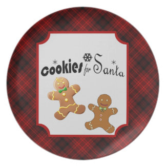Plaid Cookies for Santa Party Plate