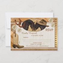 Plaid Country Western Wedding RSVP Card