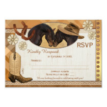 Plaid Country Western Wedding RSVP Card