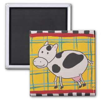 Plaid Cow-magnetic moo 2 Inch Square Magnet