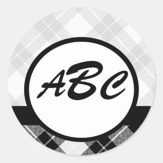Plaid Custom Monogrammed Classic Round Sticker