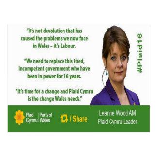 Plaid Cymru Leanne Wood Election 2016 Card