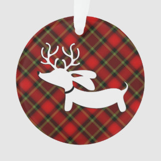Plaid Dachshund Christmas Tree Ornament