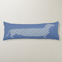 Plaid Dachshund on Blue Body Pillow