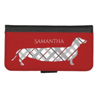 Plaid Dachshund on Red iPhone 8/7 Wallet Case