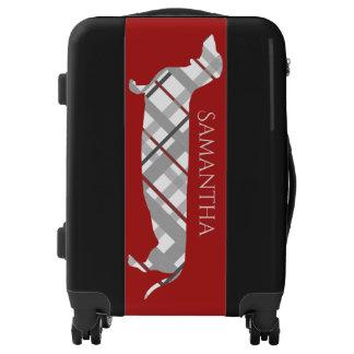 Plaid Dachshund on Red Luggage