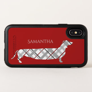 Plaid Dachshund on Red OtterBox Symmetry iPhone X Case
