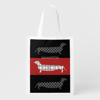 Plaid Dachshunds on Red and Black Grocery Bag