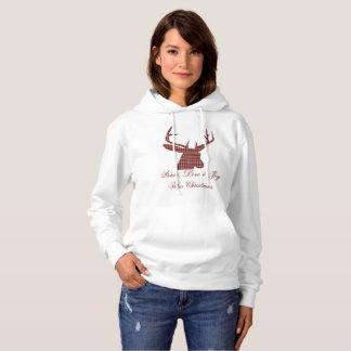 Plaid deer head Christmas sweatshirt hoody