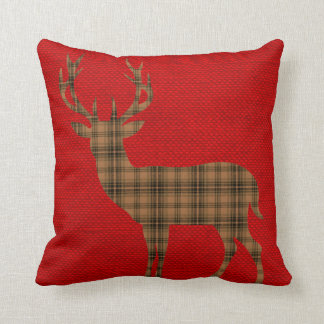 Plaid Deer Silhouette on Burlap | red brown Throw Pillow
