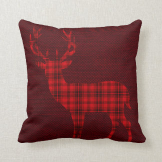 Plaid Deer Silhouette on Burlap | red burgundy Pillow