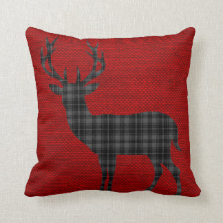 Plaid Deer Silhouette on Burlap | red charcoal Pillow