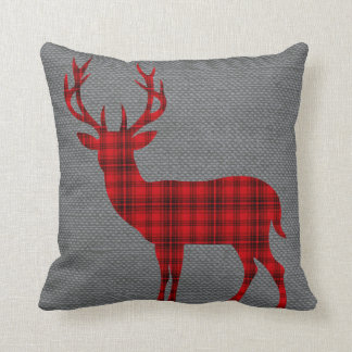 Plaid Deer Silhouette on Burlap   red Throw Pillow