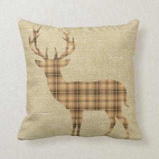 Plaid Deer Silhouette on Burlap   tan beige Throw Pillow