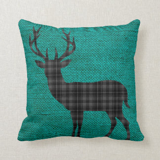 Plaid Deer Silhouette on Burlap | teal charcoal Throw Pillow