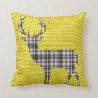 Plaid Deer Silhouette on Burlap | yellow grey Throw Pillow