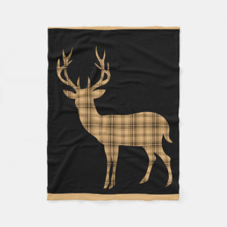 Plaid Deer Stag Silhouette | black cream tan Fleece Blanket