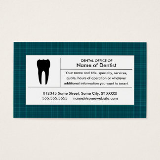 plaid dental office business card