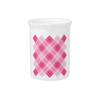 Plaid Design in Pink Beverage Pitcher