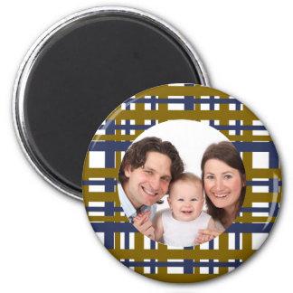 Plaid Design/Photo 2 Inch Round Magnet