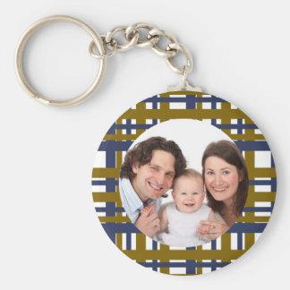 Plaid Design/Photo Basic Round Button Keychain