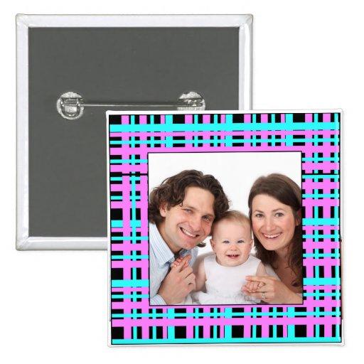 Plaid Design/ Photo Button