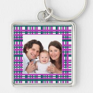 Plaid Design/Photo Keychain