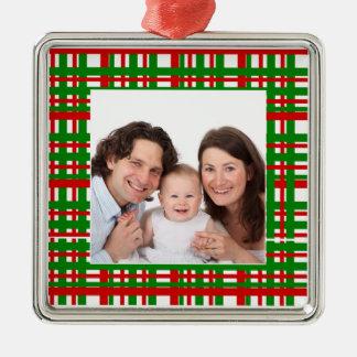 Plaid Design/ Photo Square Metal Christmas Ornament