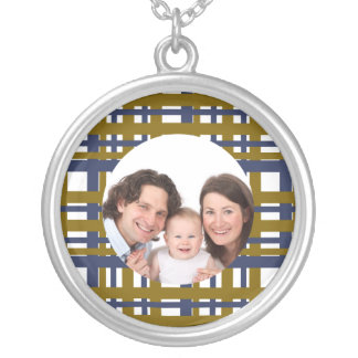Plaid Design/Photo Silver Plated Necklace