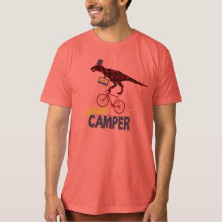 Plaid Dinosaur Happy Camper Biking T-Shirt
